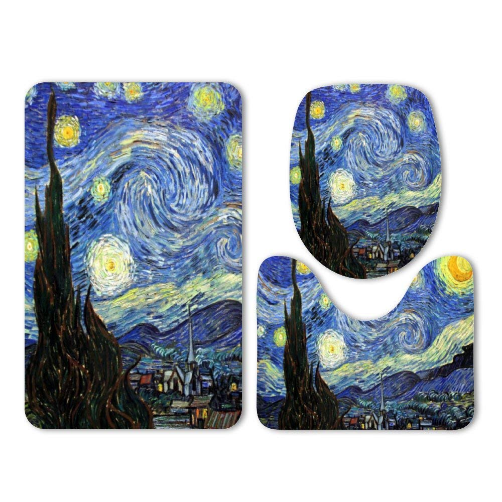 Yilooom 3-Pack Bath Mat Set, Starry Night by Vincent Van Gogh Absorbent Memory Foam Soft Shower Bath Rugs Contour Mat and Lid Cover,Non Slip Velvet Bathrug,Shower Toilet Bathmats Carpet by Yilooom
