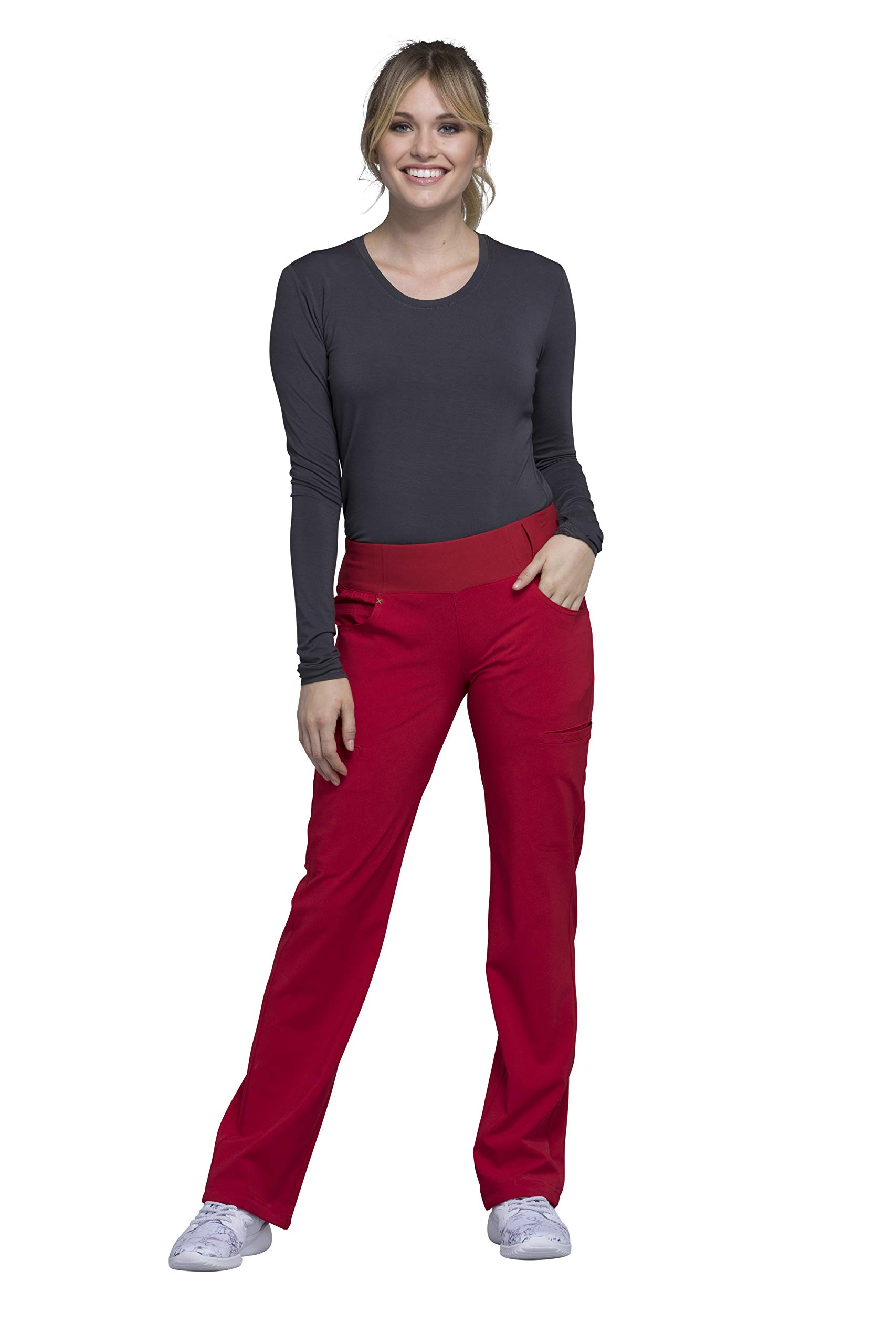 Cherokee Iflex Women's Knit Waistband Scrub Pant Small Red
