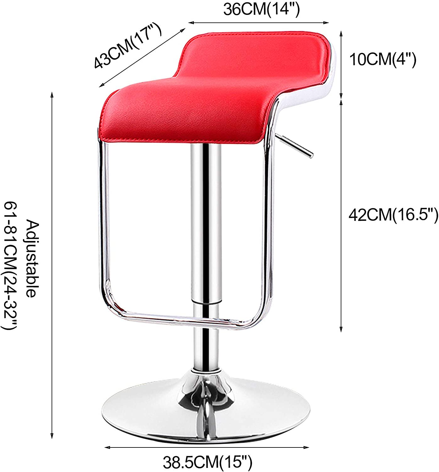 LIYANNG Modern PU Leather Adjustable Bar Stools, Counter Height Swivel Stool with Back, for Home Kitchen Bar Leisure Front Desk, Lifting 24-32