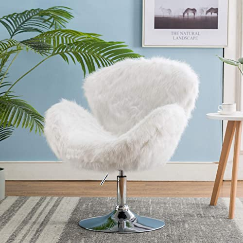 Kmax Faux Fur Accent Chair, Height Adjustable Plush Vanity Stool for Bedroom, Shaggy Dog Shell Chair for Dorm Living Room, White