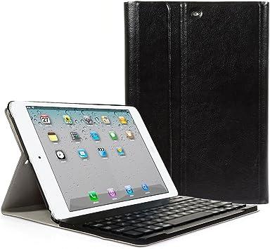 CoastCloud - Funda de Cuero Sintético negro con Teclado Bluetooth QWERTY espanol para ipad 2/ipad 3/ipad 4/iPad air(ipad 5)/ipad Air 2(iPad 6)/iPad ...