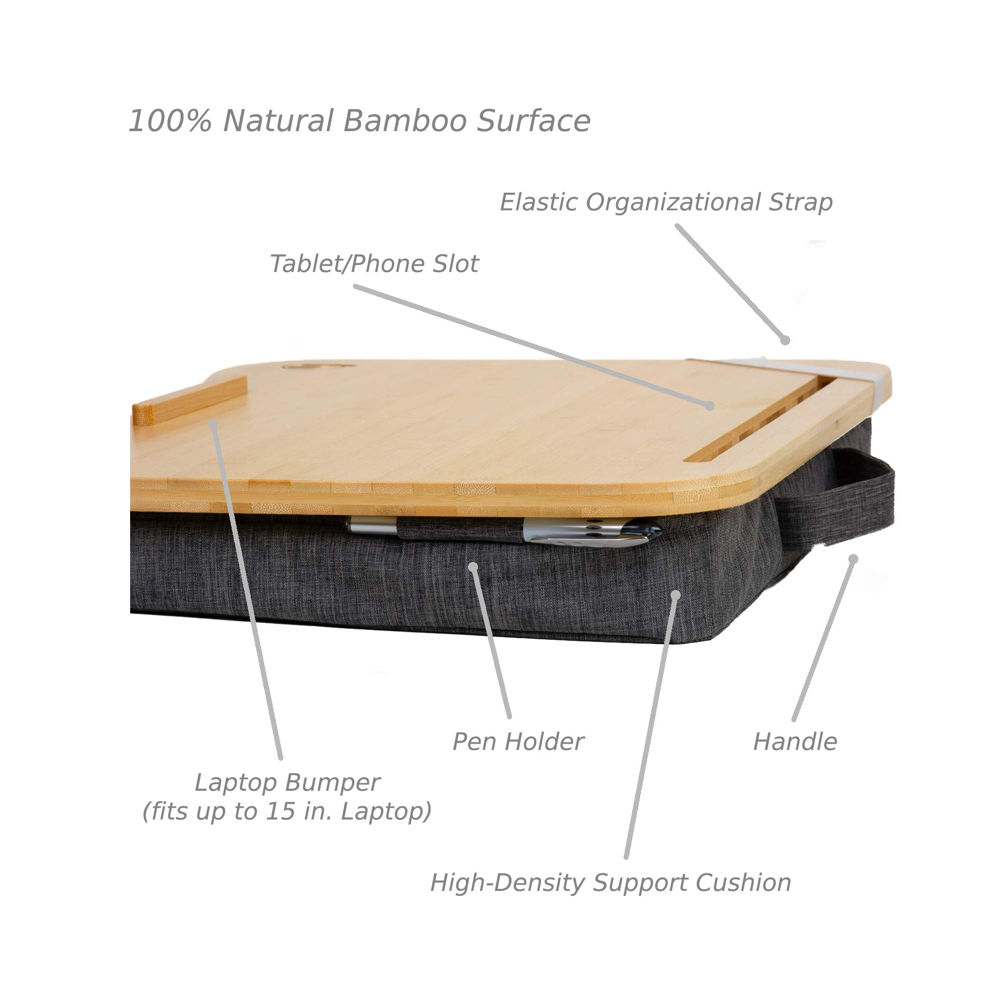 Lap Desk by Hultzzzy - Large 100% Natural Bamboo Surface - Fits up to 17 Inch Laptops - 15'' Tablets - Pen & Phone Holder - Mouse Pad Accessible - Cushion Foundation by Hultzzzy (Image #4)