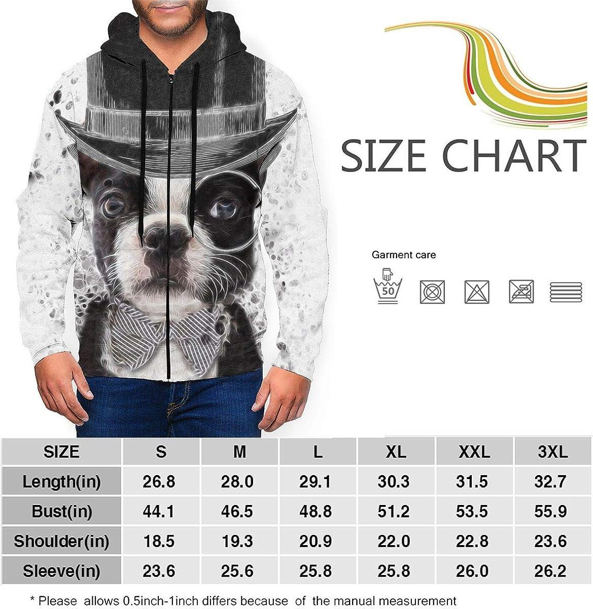 Kimisoy French Bull Dog Illustration Mens Full-Zip Sweatshirt Comfort Fleece Hooded Shirts
