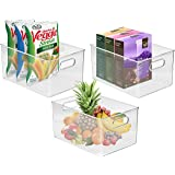 Sorbus Storage Bins Clear Plastic Organizer Container Holders with Handles – Versatile for Kitchen, Refrigerator, Cabinet, Food Pantry, Bathroom Organization (Pack of 3)