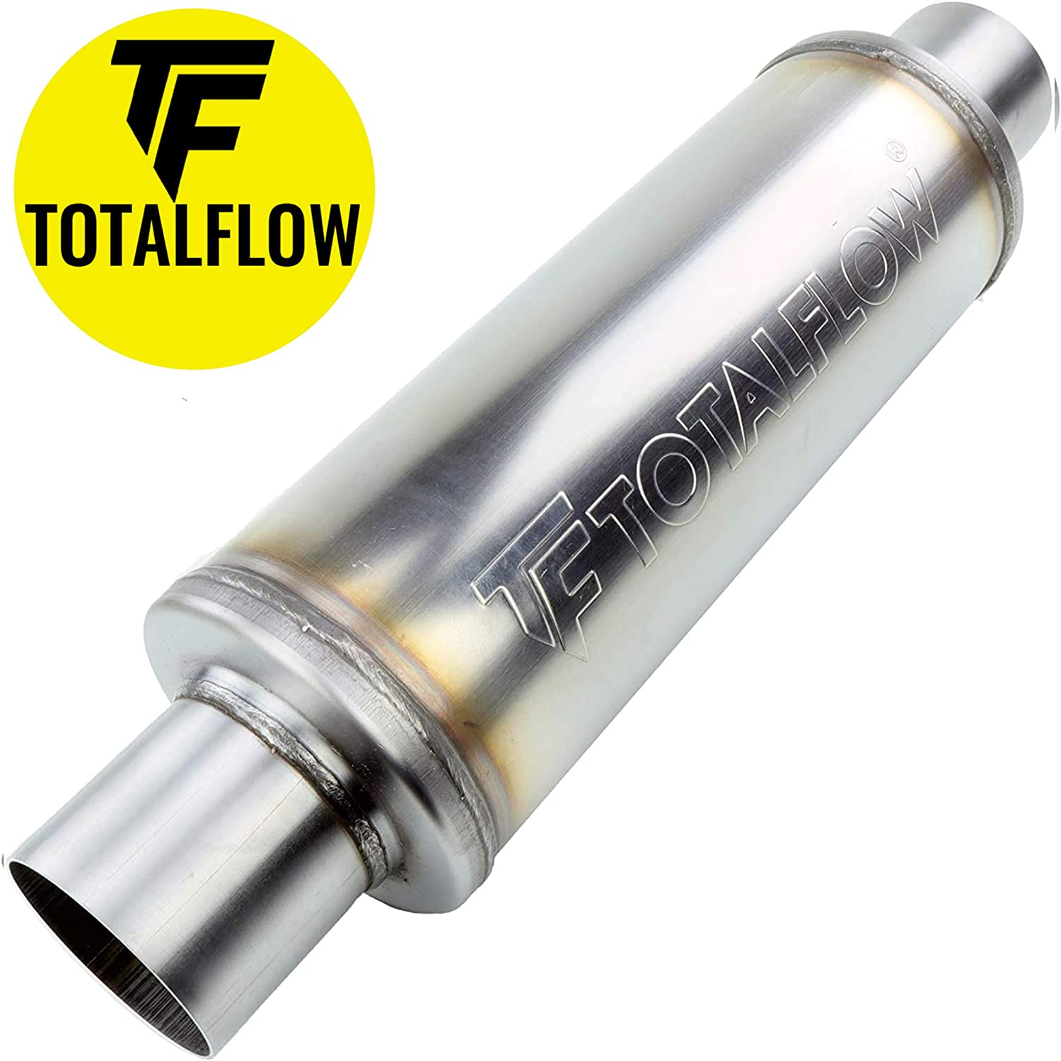 TOTALFLOW 5 Round 20414 Straight Through Exhaust Muffler 409 Stainless Steel