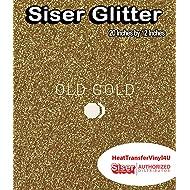 """Siser Glitter HTV 20"""" x 12"""" Sheet - Iron on Heat Transfer Vinyl (Old Gold)"""