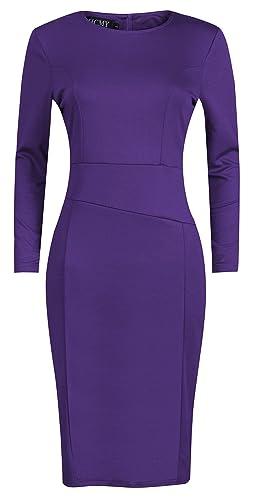 HCMY Women Long Sleeve Sexy Tight Pleated Cotton Wear to Work Midi Dress Office