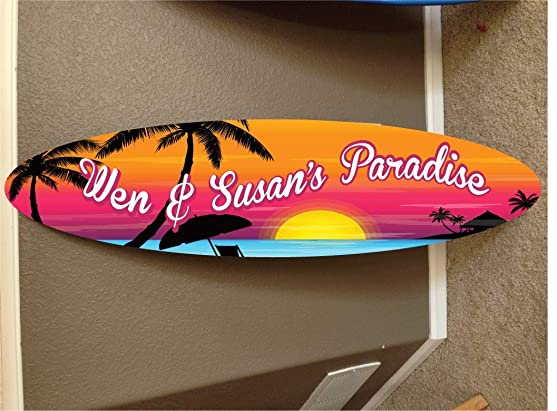5' wall hanging surf board surfboard decor hawaiian beach surfing beach decor