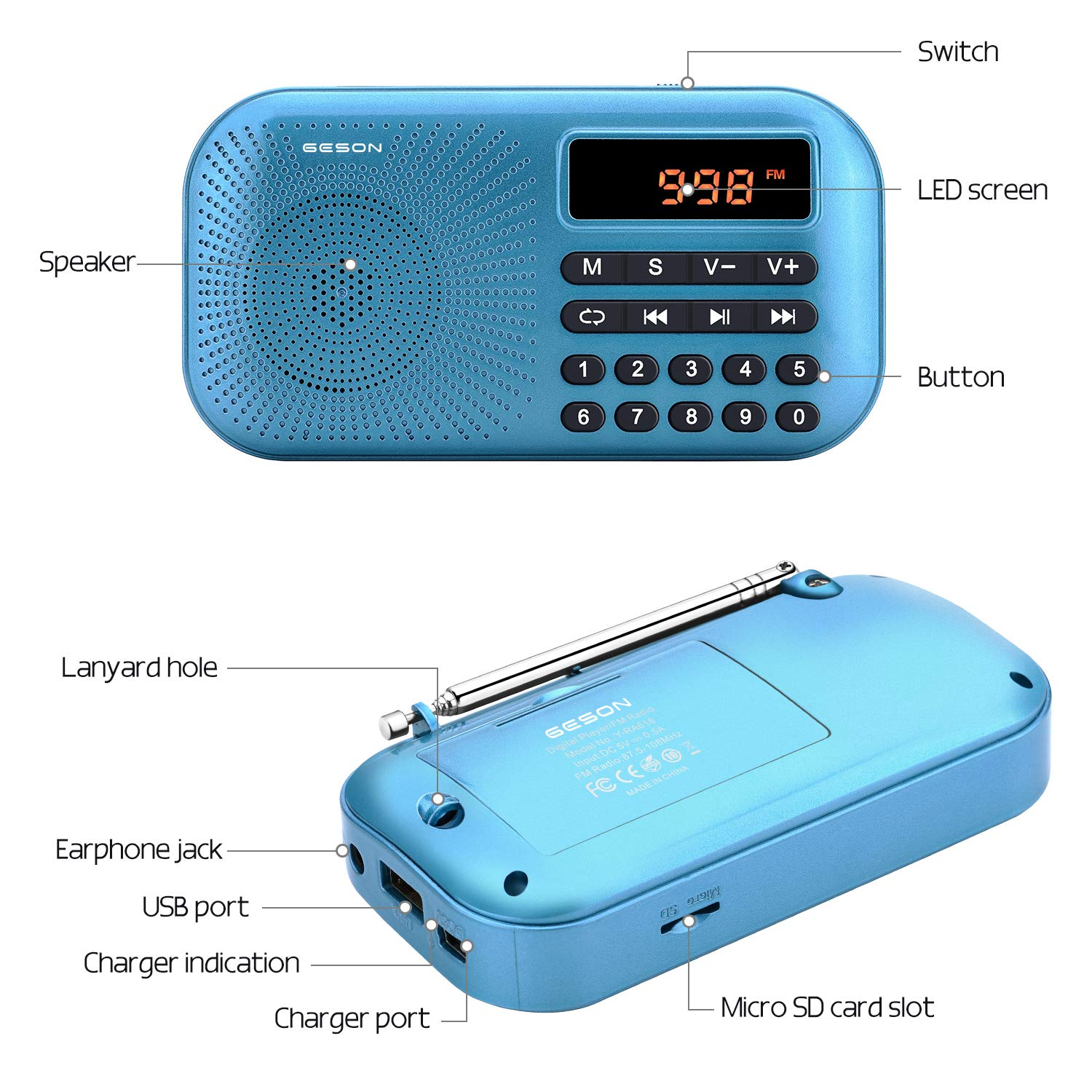 Portable AM FM Radio, Geson Mini Music Radio Player Support Micro SD Card/USB Disk with LED Screen Display (Blue) by Geson (Image #3)