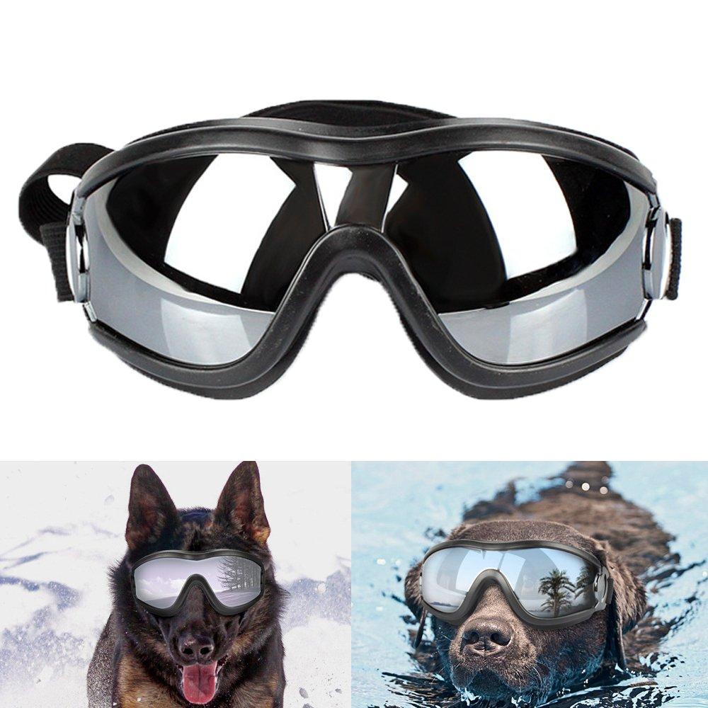 DUBENS Fashion Chien Lunettes Lunettes de protection Lunettes hermétique Sun, protection UV Eyewear Goggles Lunettes de protection, réglable de lunettes, idéal pour chiens de moyenne et grande, Noir