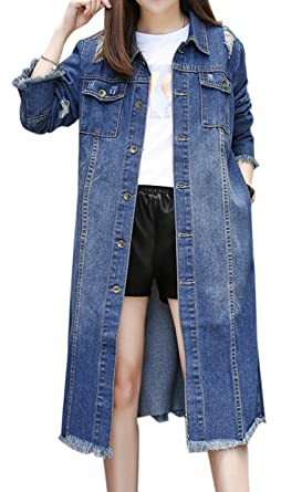 bfc8f5bd4a43a Gihuo Women s Ripped Lapel Button Front Long Denim Jacket Trench Coat Plus  Size (X-