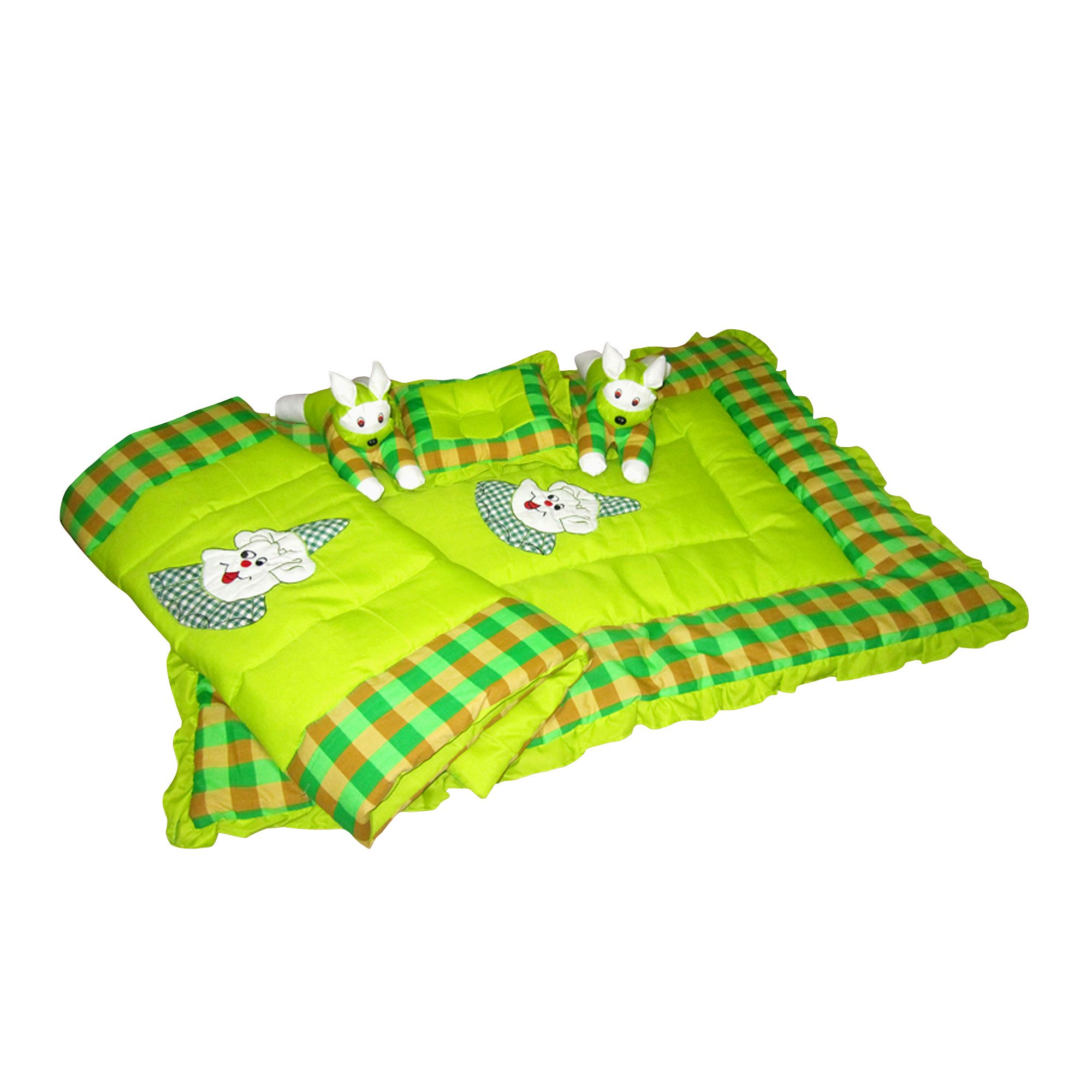 Maple Krafts Swiss Cotton Baby Bedding set upto 18 months Green with Pillow