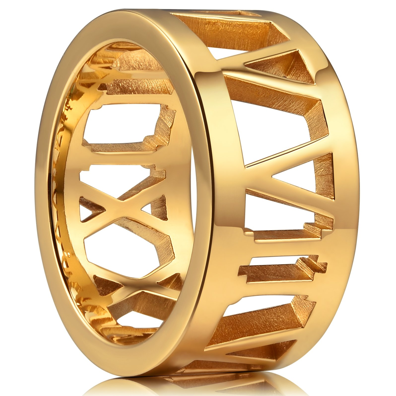 King Will TIME 10mm 316 Stainless Steel Wedding Band Gold Plated Ring with Roamn Nunber Hollow&Full High Polished(10)