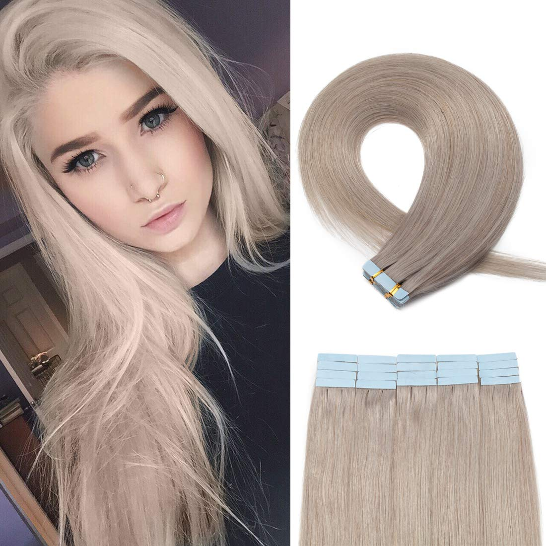 SEGO 20 Pieces Rooted Tape in Hair Extensions Human Hair Seamless Skin Weft 100% Real Remy Invisible Tape Hair Extensions Straight Double Sided 20 Inch #Grey Blonde 50g by SEGO
