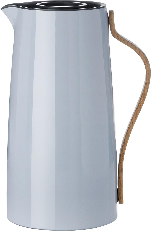 Stelton 1.2 Litre Stainless Steel/Beechwood/ABS Plastic Emma Coffee Vacuum Jug, Blue Tone