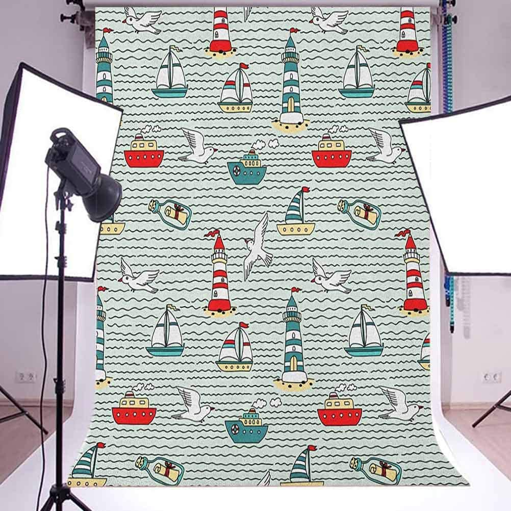 7x10 FT Leaf Vinyl Photography Background Backdrops,Ivy Patterns with Tiny Fancy Green Leaves Branches Creme Contemporary Illustration Background for Photo Backdrop Studio Props Photo Backdrop Wall