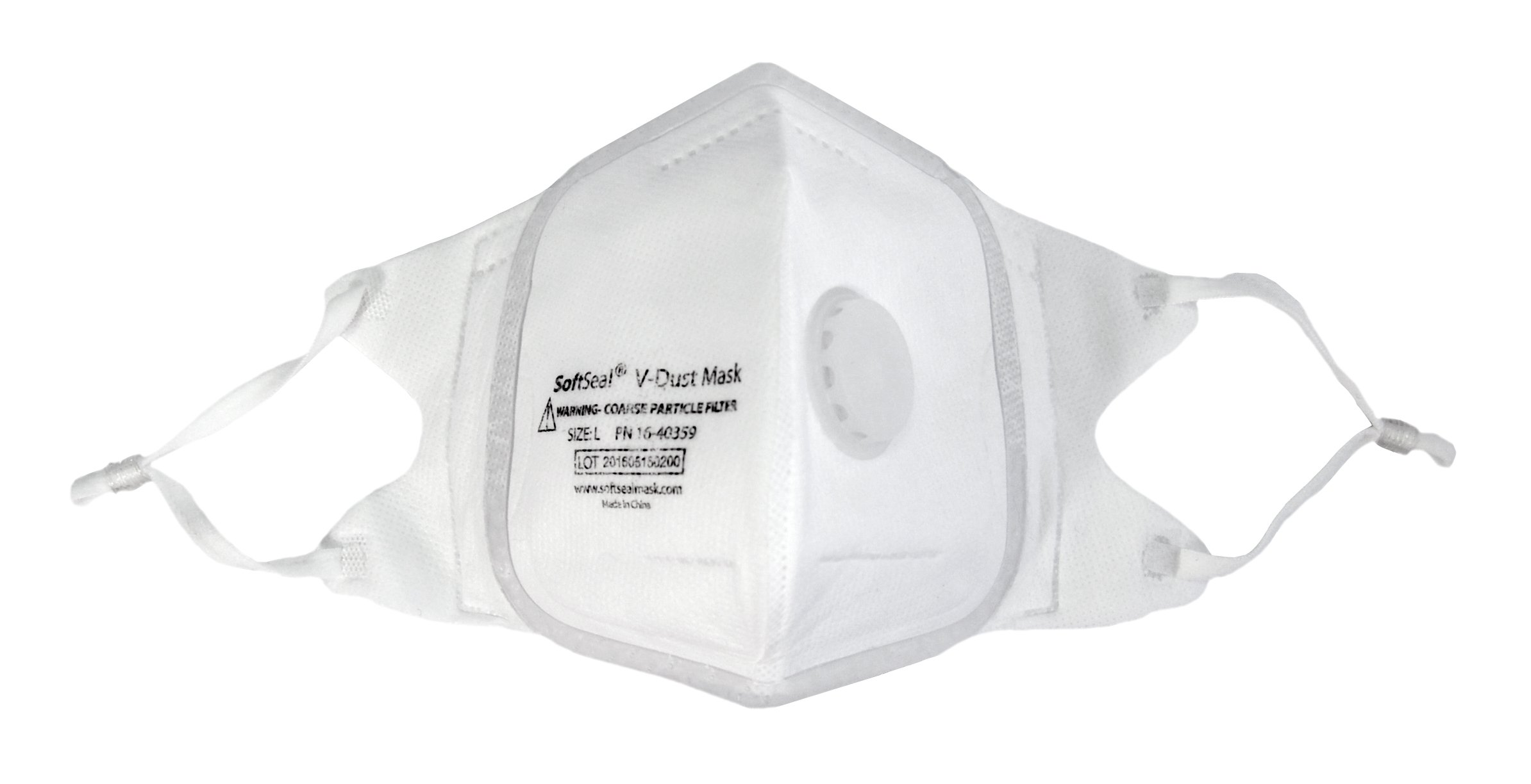 V-Fold Particle Filtration Respirator Mask by SoftSeal | Patented Silicone Mold for a Perfect Fit and Seal | Sweat Resistant Work Safety Mask | For Dust, Mold, and Paint Fumes (6, Medium)