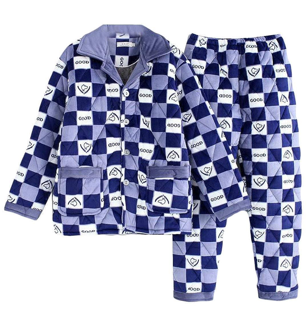 Hajotrawa Mens Sleepwear Printed Lounge Casual 2 Pcs Short Sleeve Pajama Set