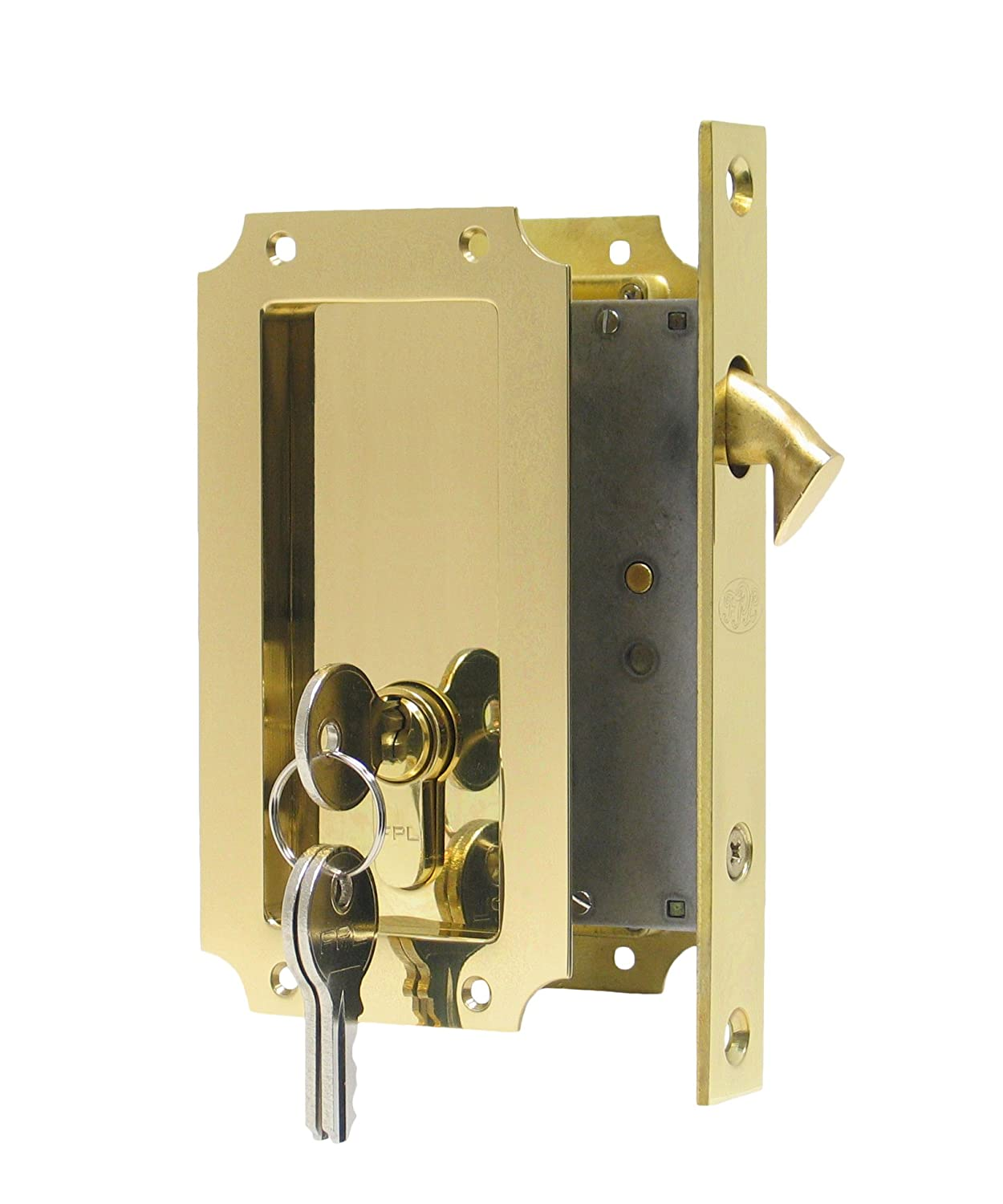 Manor By FPL  Solid Brass Pocket Door Mortise Lock Set With Double Keyed  Euro Profile Cylinder   Antique Brass   Pocket Door Hardware   Amazon.com
