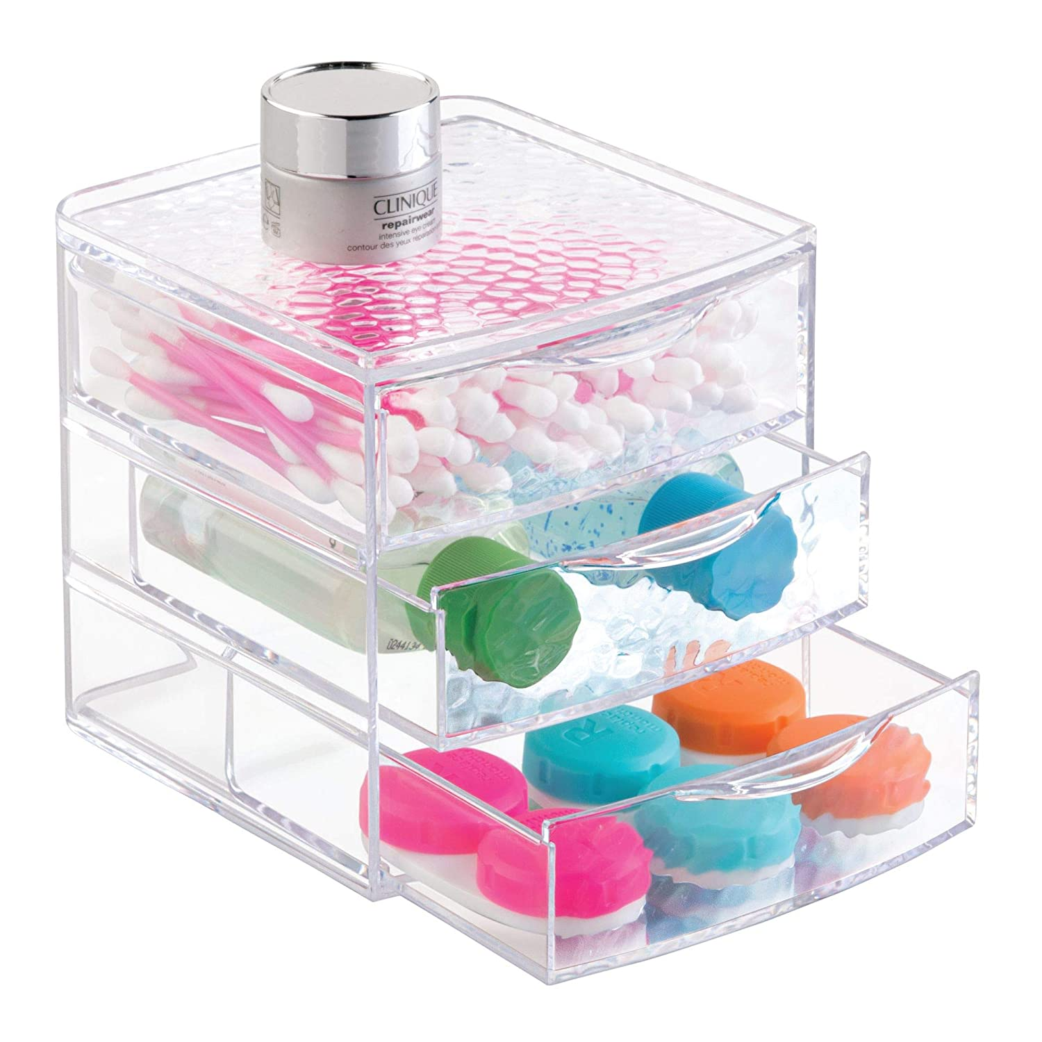 "iDesign Rain Plastic 3-Drawer Jewelry Box, Compact Storage Organization Drawers Set for Cosmetics, Dental Supplies, Hair Care, Bathroom, Office, Dorm, Desk, Countertop, 4.5"" x 4.5"" x 5.4"", Clear"
