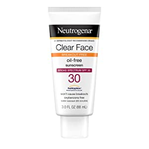 Neutrogena Clear Face Liquid Lotion Sunscreen for Acne-Prone Skin, Broad Spectrum SPF 30 with Helioplex Technology, Oxybenzone-Free, Oil-Free, Fragrance-Free & Non-Comedogenic, 3 fl. oz