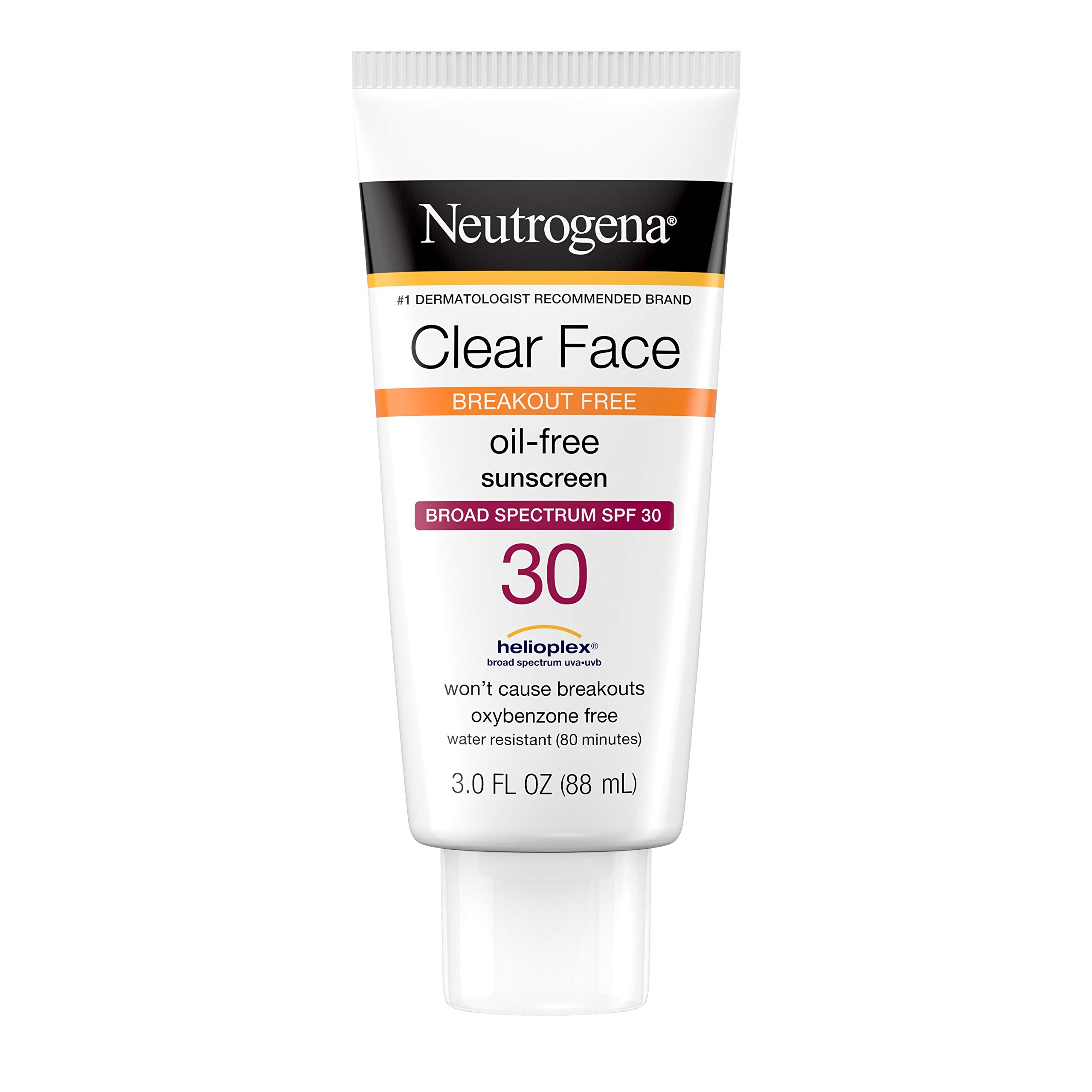Neutrogena Clear Face Liquid Sunscreen for Acne-Prone Skin, Broad Spectrum SPF 30 Sunscreen Lotion with Helioplex, Oxybenzone-Free, Oil-Free, Fragrance-Free; Non-Comedogenic, 3 fl. oz