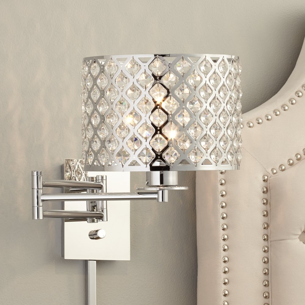 Possini Euro Glitz Wide PlugIn Swing Arm Wall Lamp Household - Plug in wall lamps for bedroom