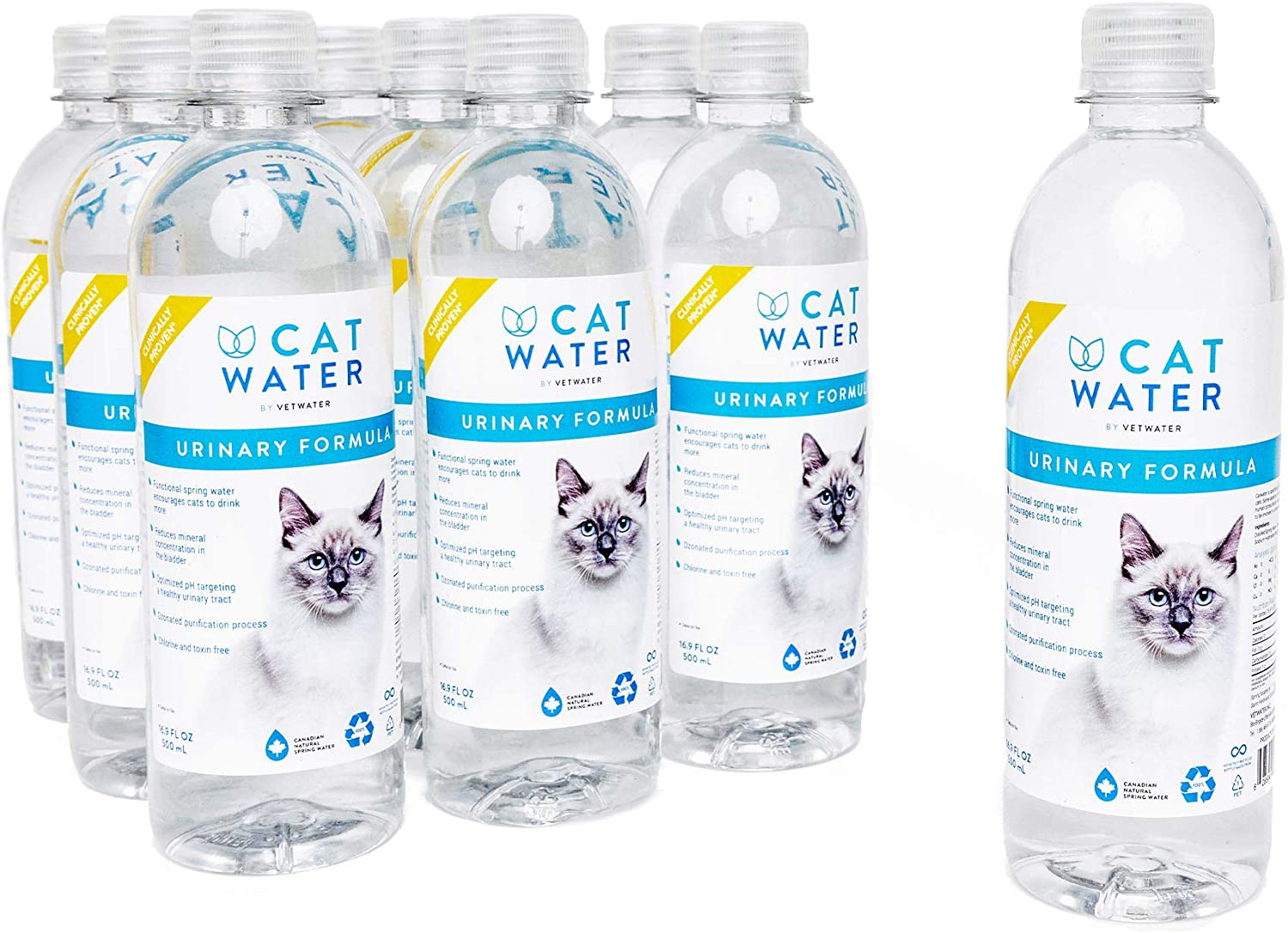 CATWATER by VETWATER | ph-Balanced and Mineral-Free Cat Water | Clinically Proven Urinary Formula | Helps Prevent Cat Urinary Issues, FLUTD| 16.9 oz, 12-Pack