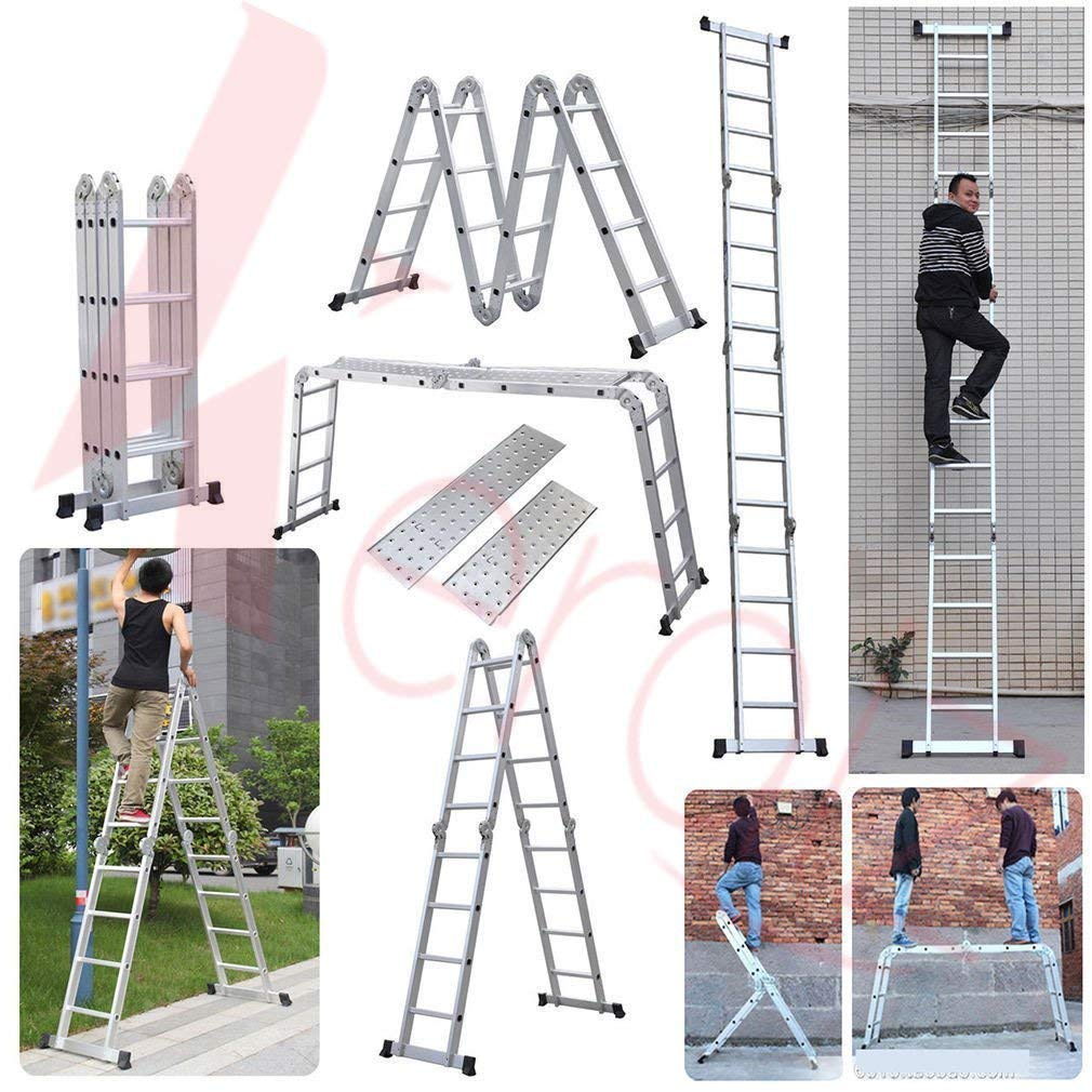 Aluminum Ladder with 2 Platforms /& Tool Tray. 15.5ft GABZ 4x4 Multi-Function 4.7m