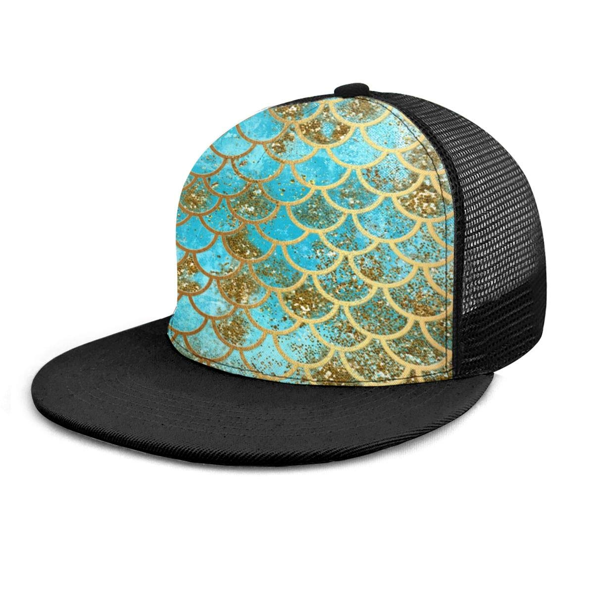Mens and Womens 100/% Polyester Teal Glitter Mermaid Scales Mesh Cap Quick Dry Trucker Baseball Cap for Unisex