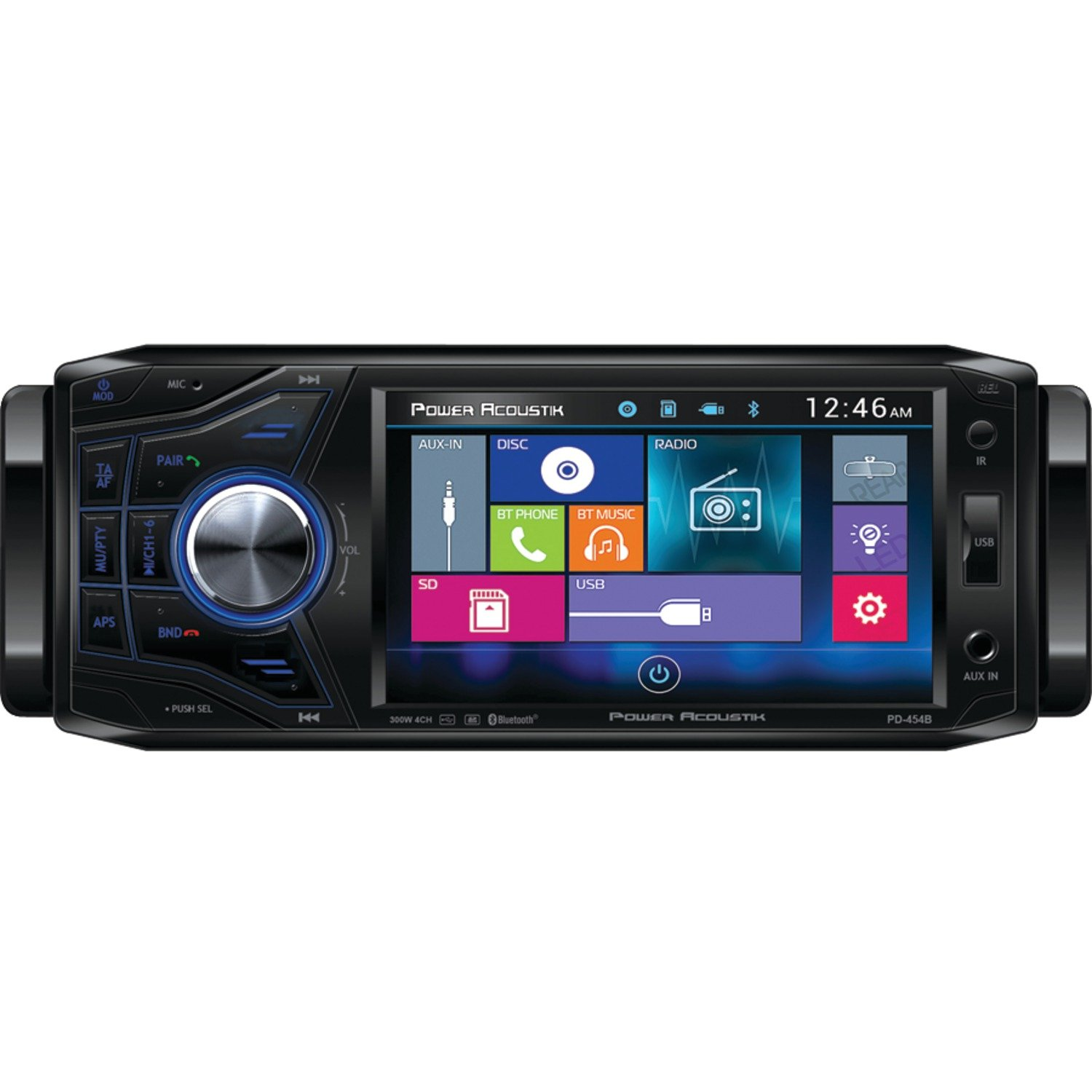Power Acoustik PD 454B 4.5'' Single-DIN In-Dash Oversized & Detachable LCD Touchscreen DVD Receiver