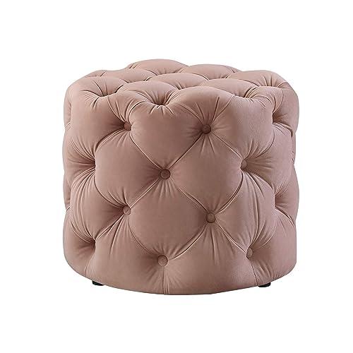 Inspired Home Blush Velvet Ottoman – Design Lauren Allover Tufted Round Modern Contemporary 1 PC