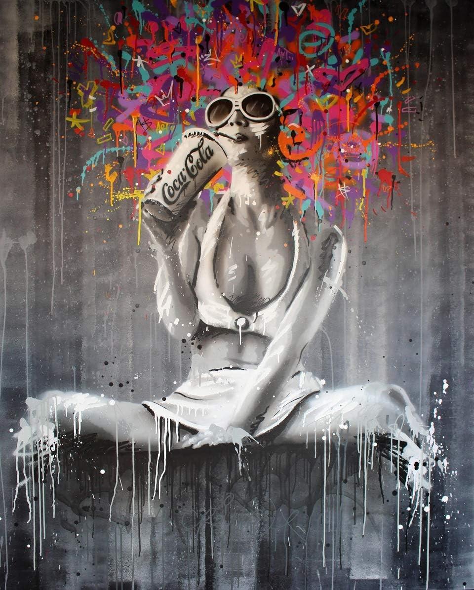 HCHD La Lona De Pintura del Retrato del Cuadro De La Lona Pintura Figura Arte De La Pared Pintada Decoración Abstracta Mujeres Fotos Banský Pósters Pop Art and Prints JYBHJ0068
