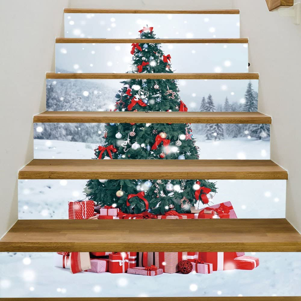 Yizunnu - Pegatinas 3D para escaleras, diseño de árbol de Navidad, 18 x 100 cm, 6 unidades: Amazon.es: Bricolaje y herramientas