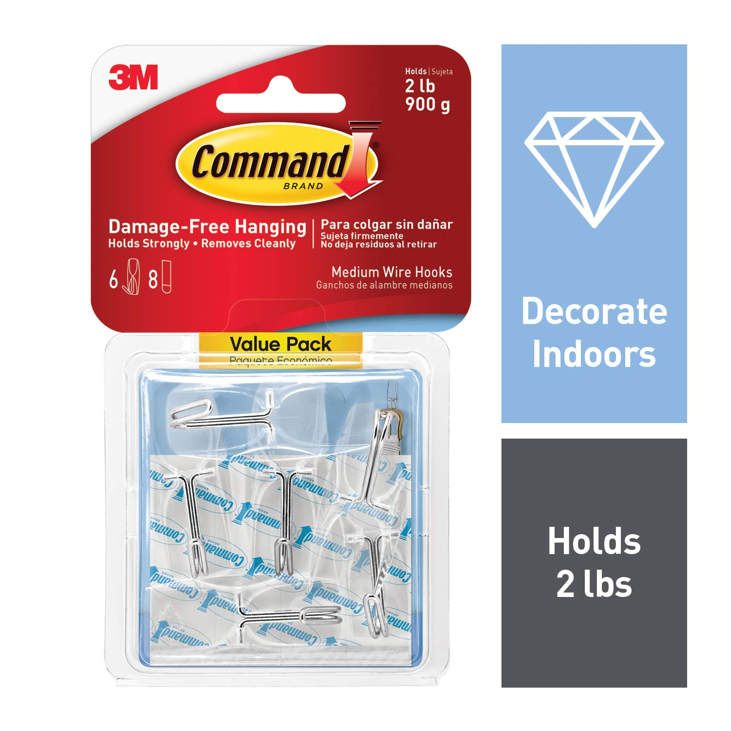 Command Wire Toggle Hook Value Pack, Medium, Clear, 6-Hooks (17065CLR-6ES) - 17065CLR-VPES