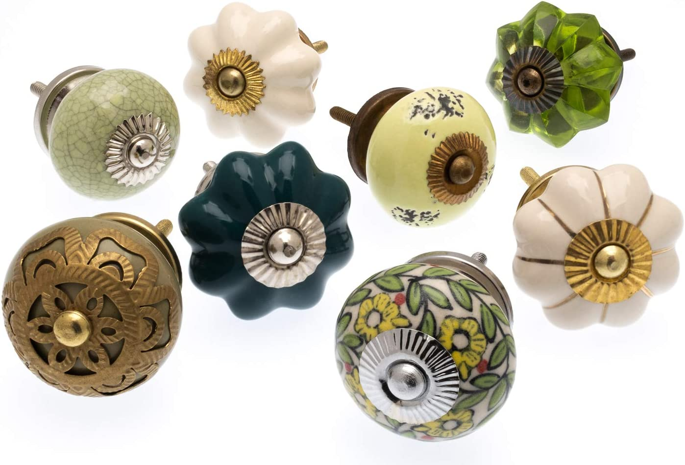 Mixed Set of 8 x Autumn Greens and Yellows Ceramic Cupboard Knobs Mango Tree TM Registered Product MG-721