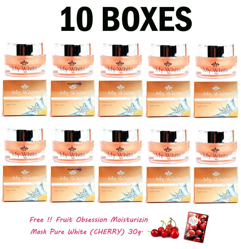 10 UNITS OF MY WHITE WHITENING KERATIN NIGHT CREAM SKIN FRECKLES SPORTS ACNE AGING [Get Free Tomato Facial Mask]