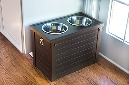 Elegant New Age Pet EcoFLEX Piedmont Pet Diner With Storage   Russet