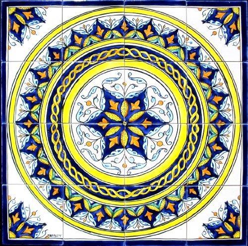 (Decorative Ceramic Tiles: Hand Painted Mosaic Murals Kitchen Bathroom Pool Patio Wall Art 24 Inch x 24)