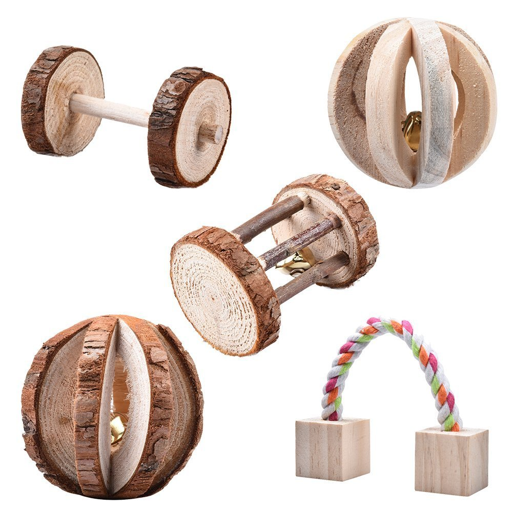 5pcs Little Pets Toys Set Wooden Chew Pine Dumbells Unicycle Bell Roller Toy For Cat Rabbits Hamster Rat