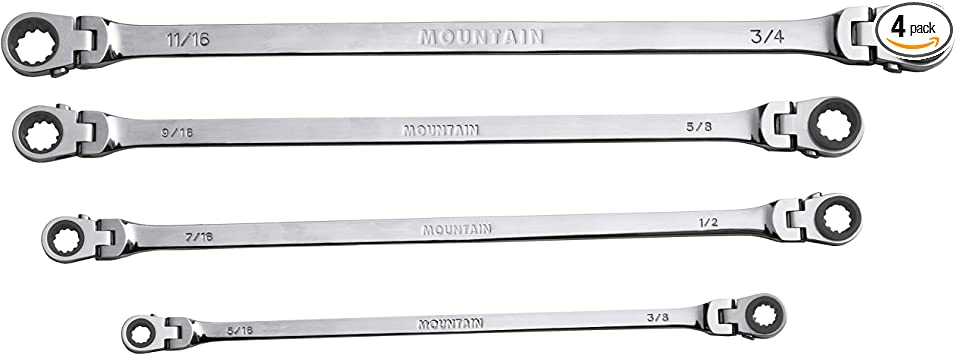 Mountain MTNRF7 4-Piece SAE Double Box Universal Spline Ratcheting Wrench Set - Reversible - 90 Tooth Design - Limited