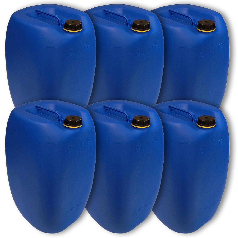 Lot de 6 bidons Bleu HDPE ouverture DIN 61 qualit/é alimentaire 1 poign/ée centrale 6x22250 Jerrican 60 L