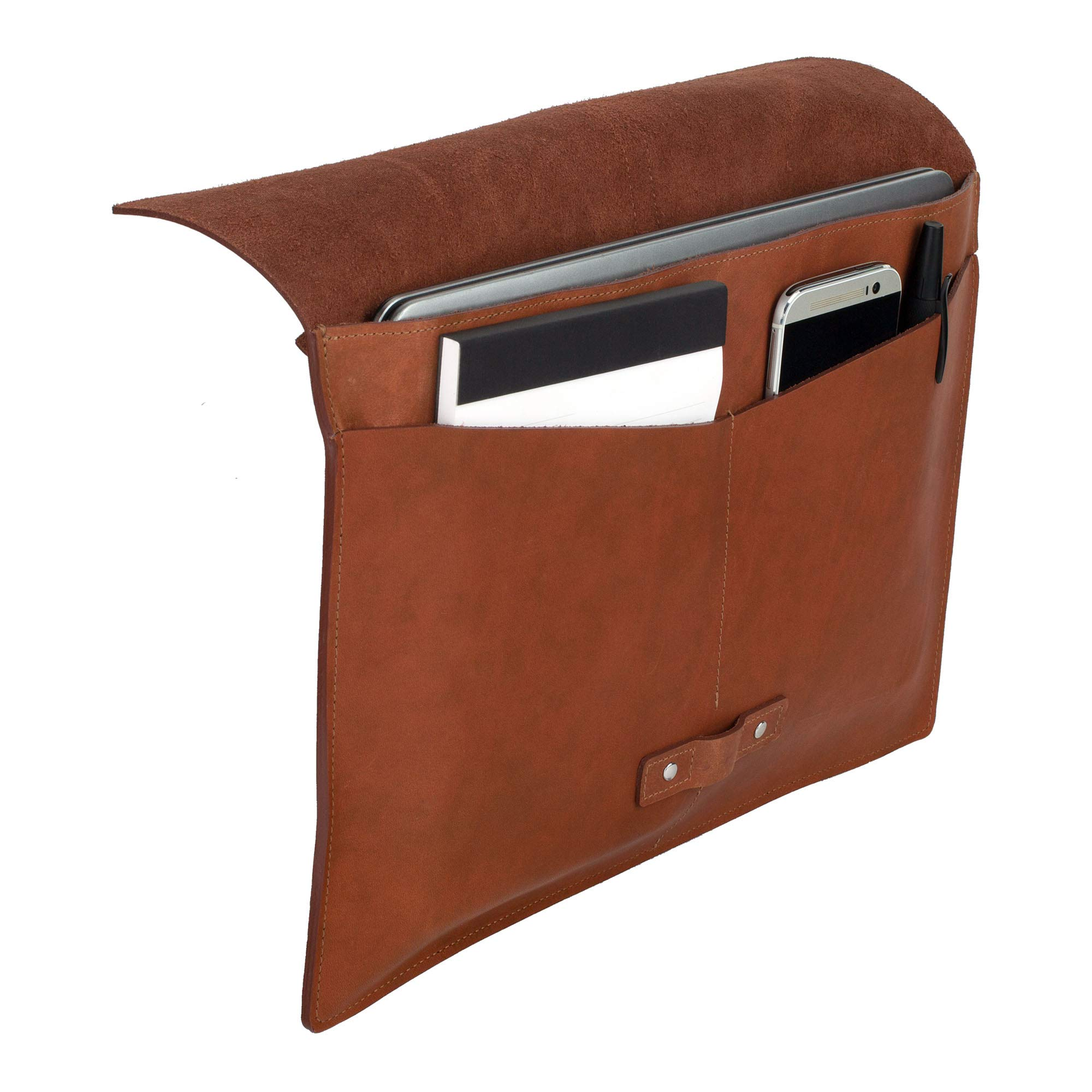 SLATE COLLECTION Belltown Small Laptop Sleeve, Full-Grain Leather (Cognac, fits 13'' Laptop) by SLATE COLLECTION (Image #8)