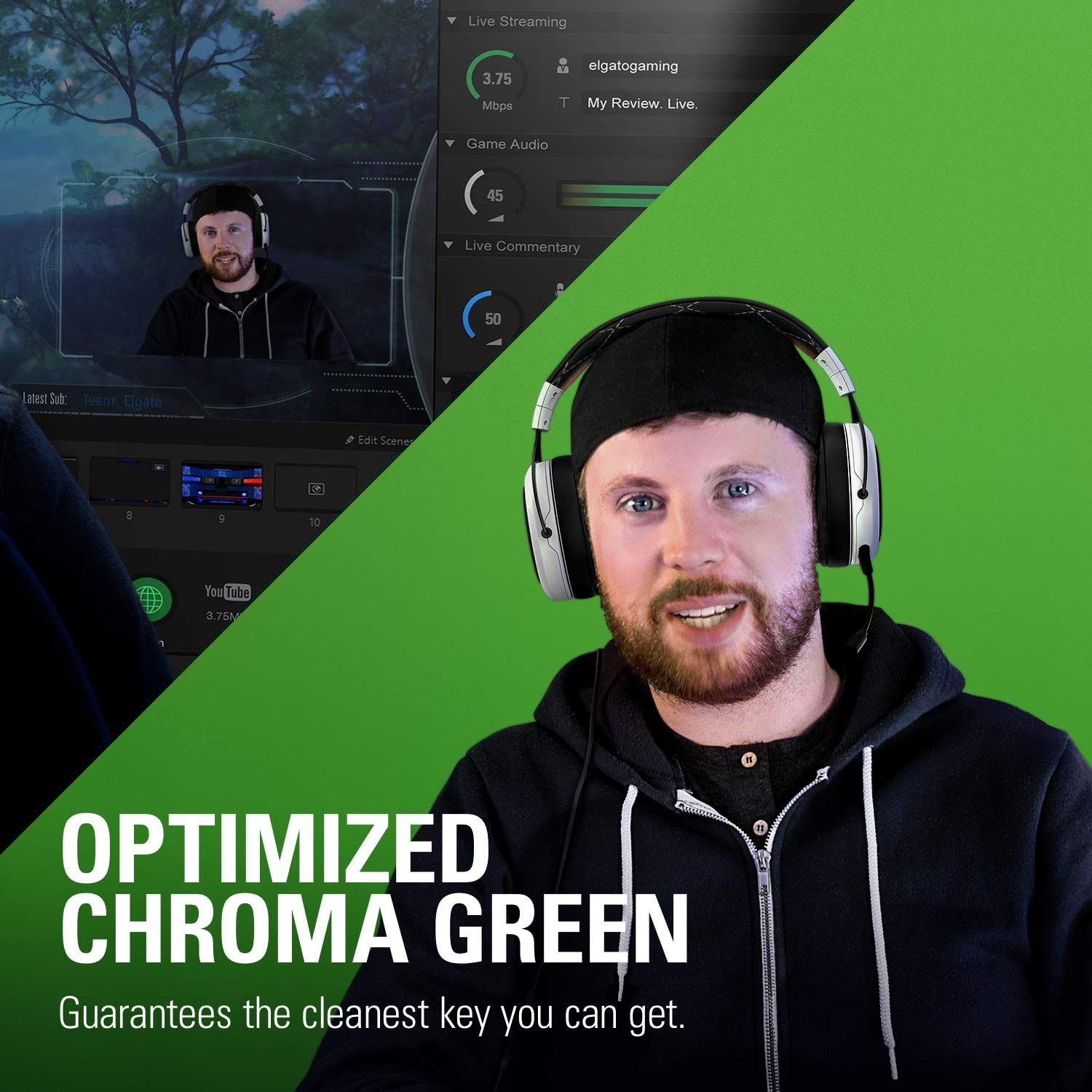 Corsair Elgato Green Screen MT - Mountable Chroma Key Panel for Background Removal, Wrinkle-Resistant Chroma-Green Fabric by Corsair (Image #6)