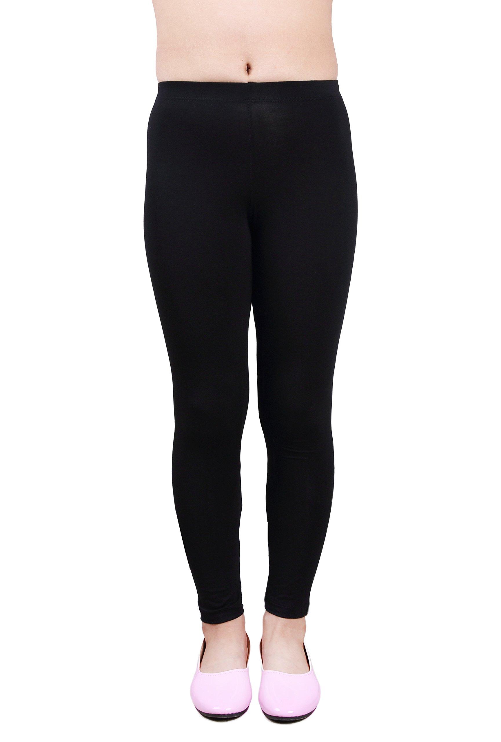 IRELIA Girls Modal Solid Active Leggings Black M