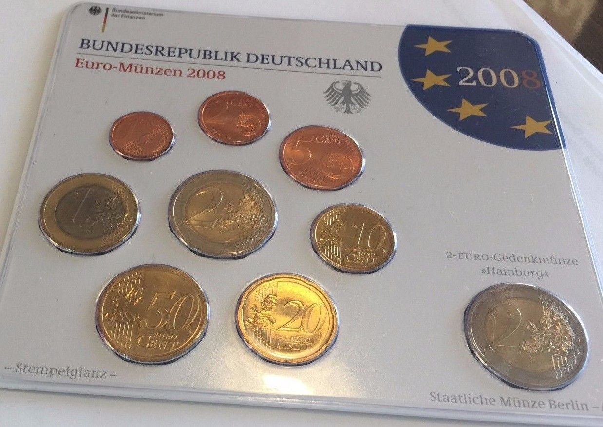 De 2008 2008 A Germany Official Euro 9 Coins Set Special Good At
