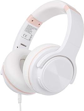 AmazonBasics – Auriculares inalámbricos circumaurales Bluetooth con conector microUSB y cable de audio de 3,5 mm, blanco: Amazon.es: Electrónica