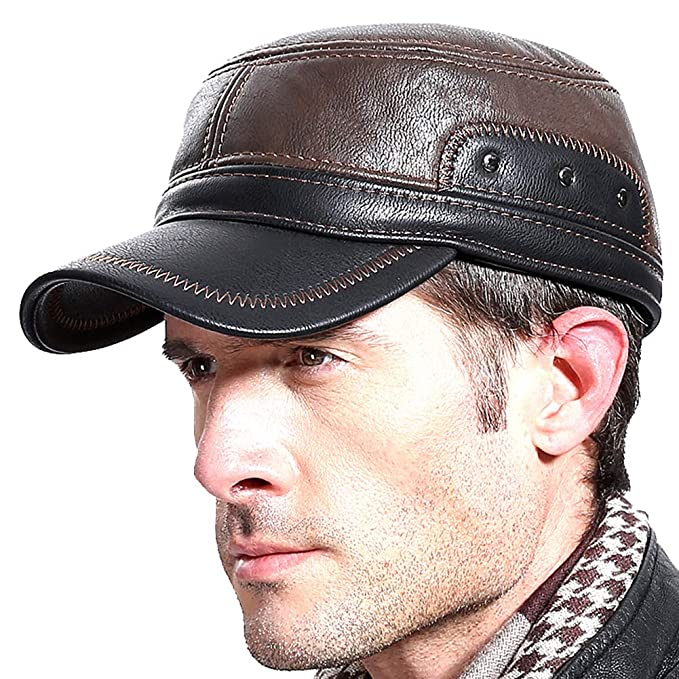 8c3777a388b Richea Men Winter Leather Warm Baseball Cap with Ear Flap Trapper Newsboy  Hat at Amazon Men s Clothing store