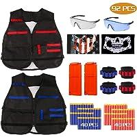 RATEL Kit de Chaleco Táctico para Niños, 92pcs Traje de chaqueta para Nerf N-Strike Elite Series con 80 piezas de espuma Dardos + 2 Quick Reload Clips + 2 Gafas protectoras + 2 Máscara + 4 muñequera