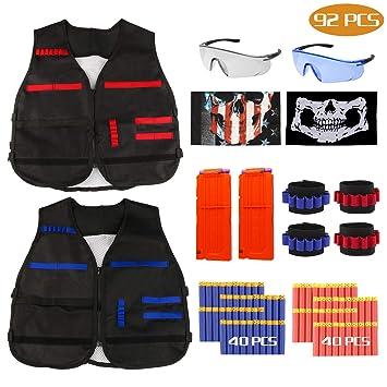 RATEL Kit de Chaleco Táctico para Niños, 92pcs Traje de chaqueta para N-Strike Elite Series con 80 piezas de espuma Dardos + 2 Quick Reload Clips + 2 ...
